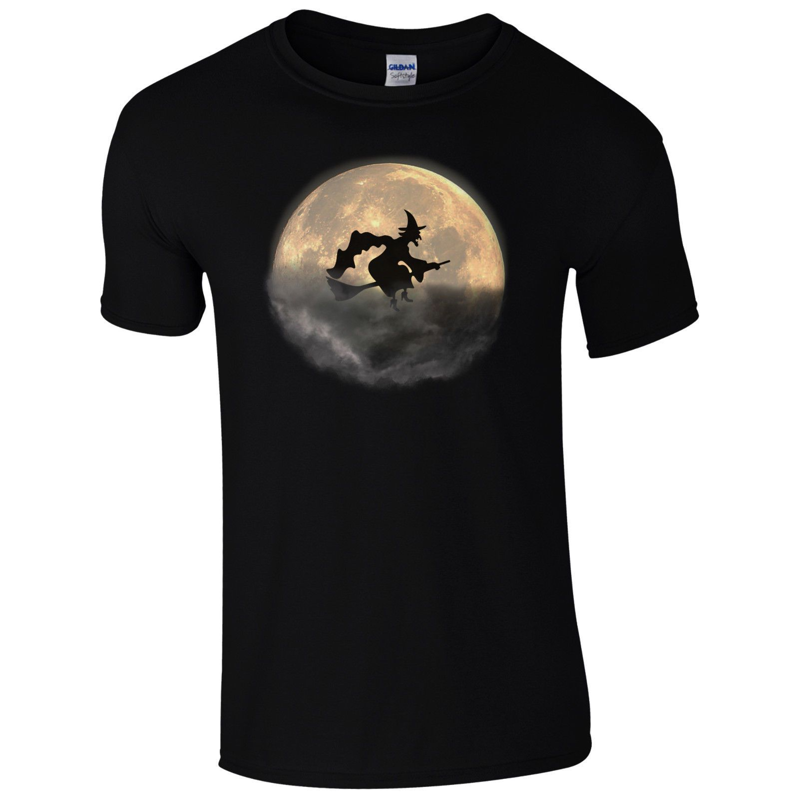 Witch Halloween Spooky Moon T Shirt Broomstick Flying